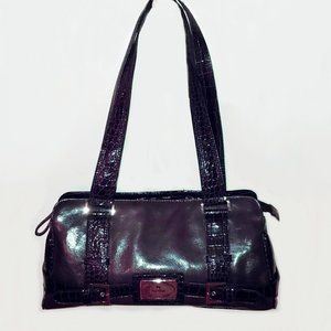 purple PU leather  shoulder bag faux crocodile